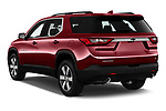 Car pictures of rear three quarter view of a 2019 Chevrolet traverse 3LT 5 Door SUV angular rear