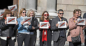Unidentified protestors display signs on the street in front of the Palau de la Generalitat de Catalunya as they advocate for Catalonian independence from Spain on Tuesday, November 7, 2017. The building is a historic palace in Barcelona, Catalonia, that houses the offices of the Presidency of the Generalitat de Catalunya Barcelona. <br /> Credit: Ron Sachs / CNP