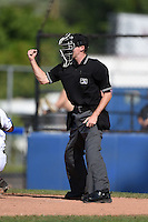 Umpire Brandin Sheeler makes a call during a game between the Vermont Lake Monsters and Jamestown Jammers on July 13, 2014 at Russell Diethrick Park in Jamestown, New York.  Jamestown defeated Vermont 6-2.  (Mike Janes/Four Seam Images)