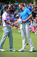 Dustin Johnson (USA) and Hideto Tanihara (JAP) shake hands after their match during round 6 of the World Golf Championships, Dell Technologies Match Play, Austin Country Club, Austin, Texas, USA. 3/26/2017.<br /> Picture: Golffile | Ken Murray<br /> <br /> <br /> All photo usage must carry mandatory copyright credit (&copy; Golffile | Ken Murray)