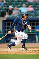 Northwest Arkansas Naturals designated hitter Samir Duenez (9) follows through on a swing during a game against the Midland RockHounds on May 27, 2017 at Arvest Ballpark in Springdale, Arkansas.  NW Arkansas defeated Midland 3-2.  (Mike Janes/Four Seam Images)