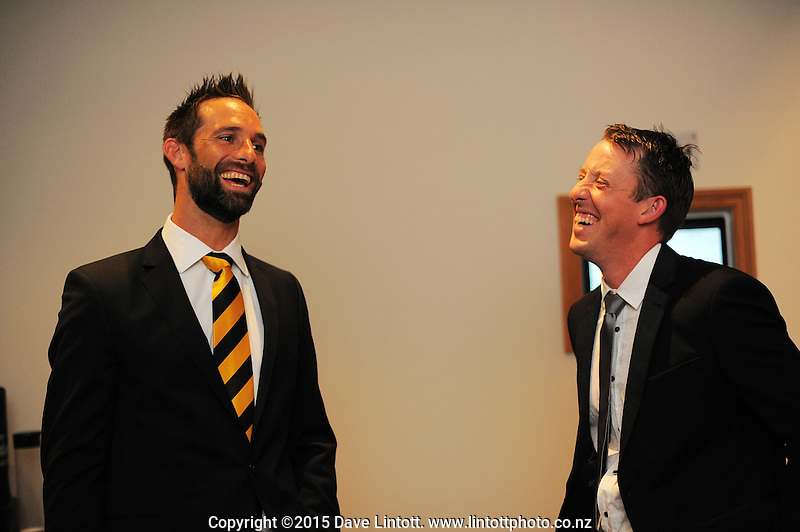 Grant Elliott and Luke Ronchi. Cricket Wellington Norwood Awards dinner at the Quality Hotel, Wellington, New Zealand on Monday, 6 April 2014. Photo: Dave Lintott / lintottphoto.co.nz