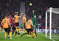 23rd November 2019; Vitality Stadium, Bournemouth, Dorset, England; English Premier League Football, Bournemouth Athletic versus Wolverhampton Wanderers; Joao Moutinho of Wolverhampton Wanderers scores from the free kick beating Aaron Ramsdale of Bournemouth in 21st minute 0-1 - Strictly Editorial Use Only. No use with unauthorized audio, video, data, fixture lists, club/league logos or 'live' services. Online in-match use limited to 120 images, no video emulation. No use in betting, games or single club/league/player publications