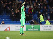 1st December 2017, Cardiff City Stadium, Cardiff, Wales; EFL Championship Football, Cardiff City versus Norwich City; Neil Etheridge of Cardiff City celebrates as his team go 2-1 up in the 2nd half