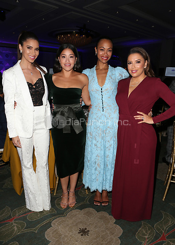 LOS ANGELES, CA - NOVEMBER 8: Roselyn Sanchez, Gina Rodriguez, Zoe Saldana and Eva Longoria at the Eva Longoria Foundation Dinner Gala honoring Zoe Saldaña and Gina Rodriguez at The Four Seasons Beverly Hills in Los Angeles, California on November 8, 2018. Credit: Faye Sadou/MediaPunch