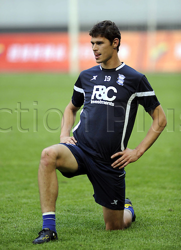 Jul 23, 2010; Shenyang, CHINA; The training session of Birmingham City FC at the Shenyang Olympic Stadium for a upcoming friendly match against Liaoning FC on Saturday. Nikola Zigic stretches