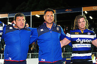 Bath Rugby Head Coach Tabai Matson looks on in a post-match huddle. Aviva Premiership match, between Bath Rugby and Sale Sharks on October 7, 2016 at the Recreation Ground in Bath, England. Photo by: Patrick Khachfe / Onside Images