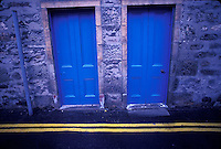 Bright blue doors and yellow stripes<br />