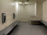 Telephones in Holding Cell No.1 in Dekalb County Jail, which was built in 1995, and with around 3,000 inmates is the biggest jail in Georgia.