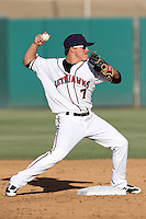 Enrique Hernandez #7 of the Lancaster JetHawks makes a throw against the Lake Elsinore Storm at Clear Channel Stadium on May 11, 2012 in Lancaster,California. (Larry Goren/Four Seam Images)