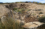 Inside ruined tomb mound Los Millares prehistoric settlement, Almeria, Spain