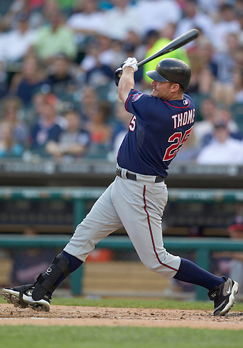 May 31, 2011:  Minnesota Twins designated hitter Jim Thome (#25) in game action during MLB game between the Minnesota Twins and the Detroit Tigers at Comerica Park in Detroit, Michigan.  The Tigers defeated the Twins 8-7.
