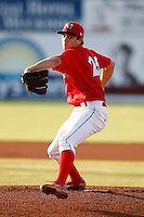 August 5, 2009:  Pitcher Chris Corrigan of the Batavia Muckdogs delivers a pitch during a game at Dwyer Stadium in Batavia, NY.  The Muckdogs are the Short-Season Class-A affiliate of the St. Louis Cardinals.  Photo By Mike Janes/Four Seam Images