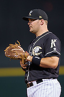 Charlotte Knights first baseman Dan Black (40) on defense against the Buffalo Bisons at BB&T Ballpark on May 9, 2014 in Charlotte, North Carolina.  The Knights defeated the Bisons 5-3.  (Brian Westerholt/Four Seam Images)