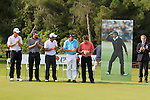 L-R L. Cante (AM), Scott Jamieson (SCO), Pablo Larrazabal (ESP), Anders Hansen (DEN) 2nd and Thomas Aiken (RSA) winner, observe a minutes silence in memory of Seve Ballesteros at the end of the Final Day of the Open de Espana at Real Club De Golf El Prat, Terrasa, Barcelona, 8th May 2011. (Photo Eoin Clarke/Golffile 2011)