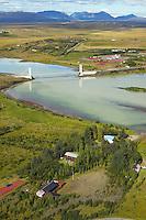 Sumarbústaðir á Netás, Ida, Hvitá,  séð til norðvesturs, Biskupstungnahreppur /.Holiday homes at Netas on the banks of river Hvita at Ida. Ida bridge. viewing northwest. Biskupstungnahreppur.