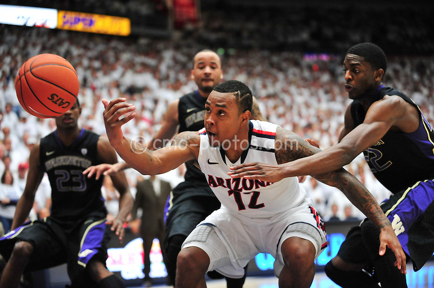 Feb 19, 2011; Tucson, AZ, USA; Arizona Wildcats guard Lamont Jones (12) looses control of an inbounds pass with seconds remaining and a one-point lead in the 2nd half of a game against the Washington Huskies at the McKale Center.  The Wildcats won 87-86.