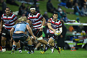 Sherwin Stowers passes back in field. The game of Three Halves, a pre-season warm-up game between the Counties Manukau Steelers, Northland and the All Blacks, played at ECOLight Stadium, Pukekohe, on Friday August 12th 2016. Photo by Richard Spranger.
