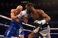 Denzel Bentley (grey shorts) defeats Adam Grabiec during a Boxing Show at the Royal Albert Hall on 8th March 2019