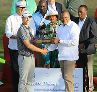 President Uhuru Kenyatta presents the winning trophy to Guido Migliozzi (ITA) at prizegiving after the final round of the Magical Kenya Open, Karen Country Club, Nairobi, Kenya. 17/03/2019<br /> Picture: Golffile | Phil Inglis<br /> <br /> <br /> All photo usage must carry mandatory copyright credit (&copy; Golffile | Phil Inglis)