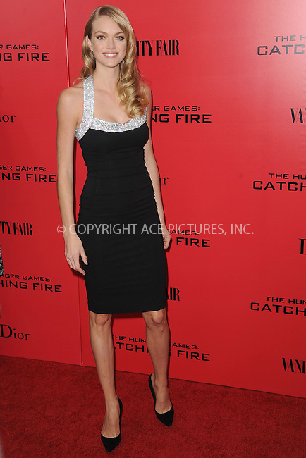 WWW.ACEPIXS.COM<br /> November 20, 2013...New York City<br /> <br /> Lindsay Ellingson attending a premiere of 'The Hunger Games: Catching Fire' on November 20, 2013 in New York City.<br /> <br /> Byline: Kristin Callahan/Ace Pictures<br /> <br /> ACE Pictures, Inc.<br /> tel: 646 769 0430<br />       212 243 8787<br /> e-mail: info@acepixs.com<br /> web: http://www.acepixs.com
