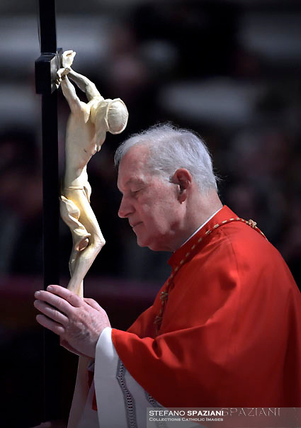 Cardinal Cardinal Marc Ouelett,Pope Francis the ceremony of the Good Friday Passion of the Lord Mass in Saint Peter's Basilica at the Vatican.March 30, 2018