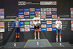 The podium Rozemarijn Ammerlaan (NED) wins with Camilla Alessio (ITA) 2nd and Elynor Backstedt (GBR) 3rd at the end of the Women's Junior Individual Time Trial of the 2018 UCI Road World Championships running 20km around Innsbruck, Innsbruck-Tirol, Austria 2018. 24th September 2018.<br /> Picture: Innsbruck-Tirol 2018/BettiniPhoto | Cyclefile<br /> <br /> <br /> All photos usage must carry mandatory copyright credit (&copy; Cyclefile | BettiniPhoto/Innsbruck-Tirol 2018)