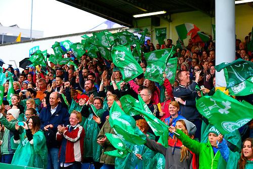 23.08.2015. Dublin, Ireland. Women's Sevens Series Qualifier 2015. Japan versus Ireland<br /> Irish fans cheer on the team.