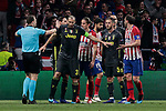 Juventus' Giorgio Chiellini have words with the referee during UEFA Champions League match, Round of 16, 1st leg between Atletico de Madrid and Juventus at Wanda Metropolitano Stadium in Madrid, Spain. February 20, 2019. (ALTERPHOTOS/A. Perez Meca)