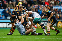 5th January 2020; Ricoh Arena, Coventry, West Midlands, England; English Premiership Rugby, Wasps versus Northampton Saints; Jack Willis of Wasps holds the ball in the tackle - Editorial Use