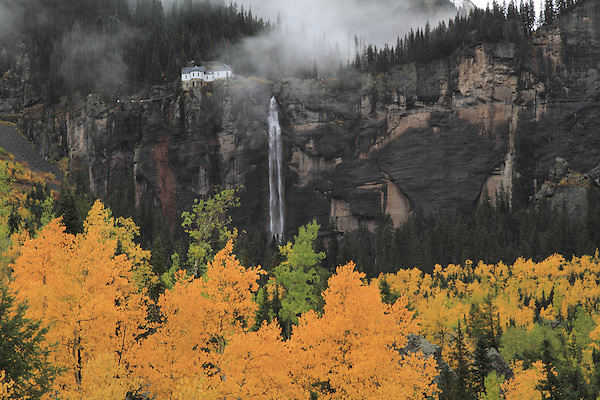 Hydroelectric plant next to Bridalveil Falls, Telluride, Colorado, USA.