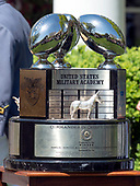 The Commander-in-Chief's Trophy is displayed prior to the arrival of United States President Donald J. Trump,k who will present it to the Military Academy football team in the Rose Garden of the White House in Washington, DC on Tuesday, May 1, 2018.  The Commander-in-Chief's trophy is presented to the winner of the annual Army-Navy football game which was played at Lincoln Financial Field in Philadelphia, Pennsylvania on December 9, 2017.  The Army Black Knights beat the Navy Midshipmen 14 - 13.<br /> Credit: Ron Sachs / CNP
