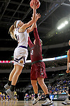 SIOUX FALLS, SD: MARCH 7: Mallory Boyle #10 from Western Illinois lays the ball up against Caitlyn Tolen #12 from IUPUI during the Women's Summit League Basketball Championship Game on March 7, 2017 at the Denny Sanford Premier Center in Sioux Falls, SD. (Photo by Dave Eggen/Inertia)