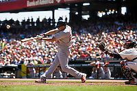 12 April 2008: #24 Rick Ankiel hits the ball during the St. Louis Cardinals 8-7 victory over the San Francisco Giants at the AT&T Park in San Francisco, CA.