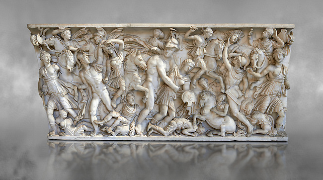 Roman sarcophagus depicting a battle between Achilles and Pentesilea and Amazons, the faces of the deceased have been sculpted over the Greek heroes, circa 230-250 AD, inv 933, Vatican Museum Rome, Italy,  grey art background