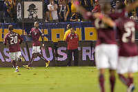 Omar Cummings of the Colorado Rapids begins the dance of celebration after scoring a goal. The Colorado Rapids defeated the LA Galaxy 3-1 at Home Depot Center stadium in Carson, California on Saturday October 16, 2010.