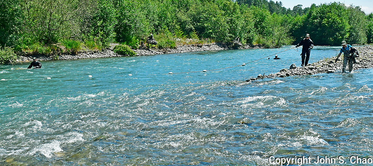National Park Service Fisheries scientists drift-netting Lower Elwha River for fish recovery survey. Olympic Peninsula, Washington State