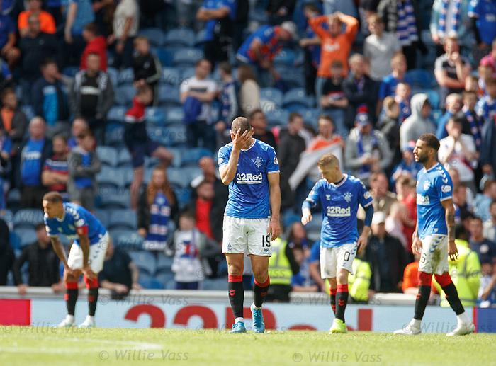 01.09.2019 Rangers v Celtic: Dejection from Rangers