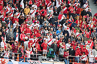 YEKATERINBURG, RUSSIA - June 21, 2018:  Peru fans cheer on their team during the Peru vs. France  2018 FIFA World Cup group stage at Yekaterinburg Arena Stadium.