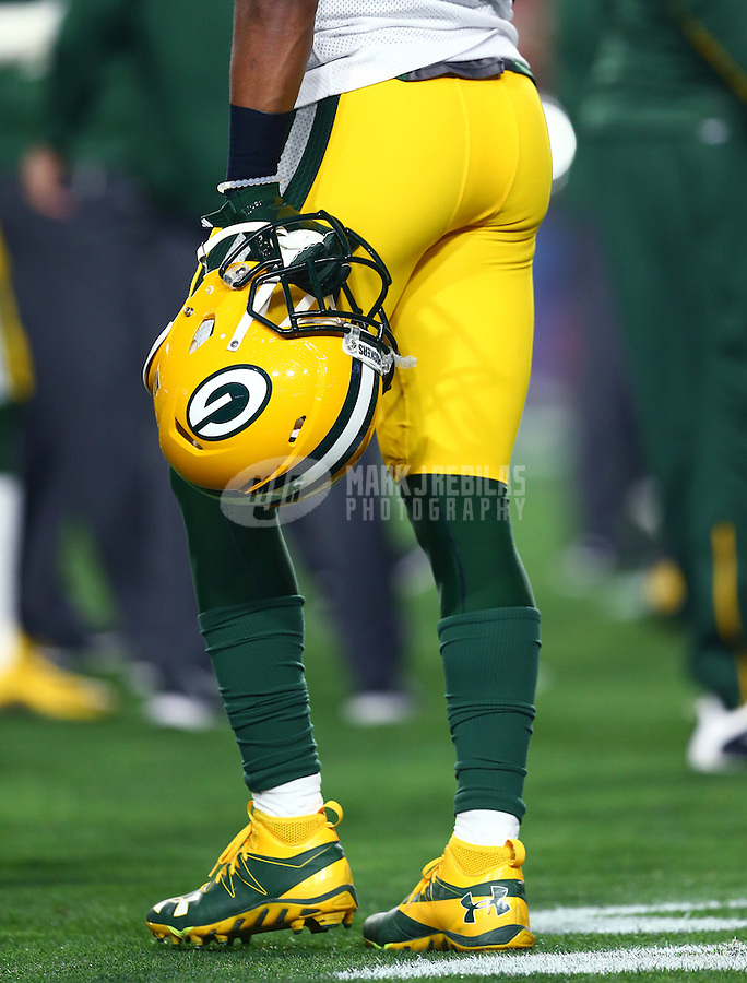 Jan 16, 2016; Glendale, AZ, USA; Detailed view of a Green Bay Packers helmet in the hand of a player against the Arizona Cardinals during the NFC Divisional round playoff game at University of Phoenix Stadium. Mandatory Credit: Mark J. Rebilas-USA TODAY Sports