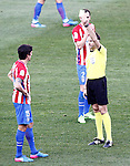 Spanish referee Antonio Miguel Mateu Lahoz show yellow card to Atletico de Madrid's Stefan Savic during La Liga match. February 26,2017. (ALTERPHOTOS/Acero)