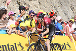 "Geraint Thomas (WAL) Team Ineos loses 30"" to the race leader as he finishes 8th atop the Col du Tourmalet at the end of Stage 14 of the 2019 Tour de France running 117.5km from Tarbes to Tourmalet Bareges, France. 20th July 2019.<br /> Picture: Colin Flockton 