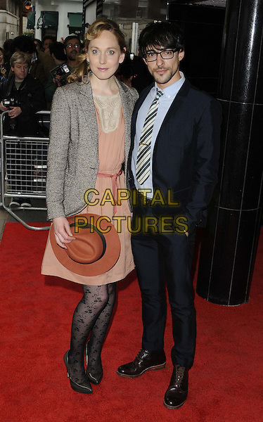 Hattie Morahan &amp; Blake Ritson<br /> The &quot;Summer In February&quot; VIP gala film screening, Curzon Mayfair cinema, Curzon St., London, England.<br /> June 10th, 2013<br /> full length black tights grey gray blazer maroon hat fedora black suit glasses couple blue shirt pink dress dress   <br /> CAP/CAN<br /> &copy;Can Nguyen/Capital Pictures