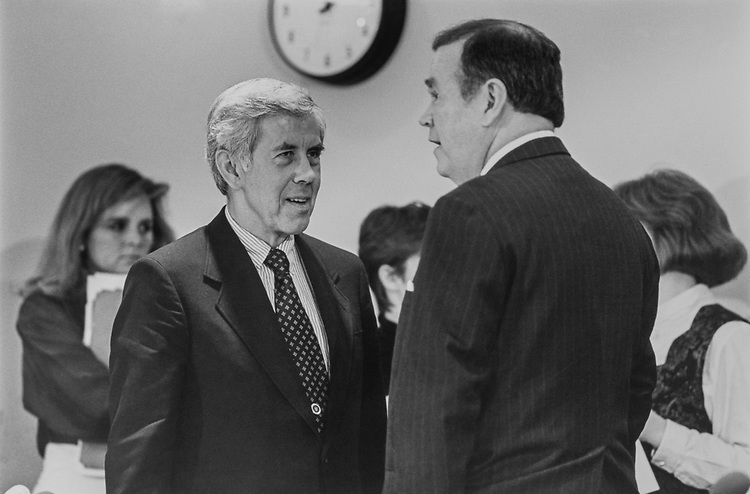 Sen. Richard Lugar, R-Ind., and Sen. David L. Boren, D-Okla., before a meeting of the Committee on Congress, on April 1, 1993. (Photo by Laura Patterson/CQ Roll Call via Getty Images)