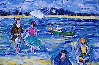 Europe/France/Aquitaine/33/Gironde/Bassin d'Arcachon/Arcachon/Le Moulleau: Détail d'un mur peint représentant le bassin