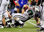 3 December 2009: New York Jets' quarterback Kellen Clemens is sacked by the Buffalo Bills at the Rogers Centre in Toronto, Ontario, Canada. The Jets defeated the Bills 19-13. Mandatory Credit: Ed Wolfstein Photo