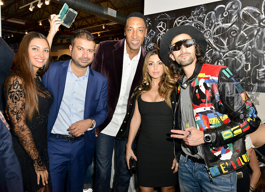 MIAMI, FL - DECEMBER 02: Guest, Kamal Hotchandani, Scottie Pippen, Larsa Younan and Adrien Brody attends Haute Living And Zacapa Rum Present Domingo Zapata at Lulu Laboratorium on Wednesday December 2, 2015 in Miami, Florida. (Photo by Johnny Louis/jlnphotography.com)