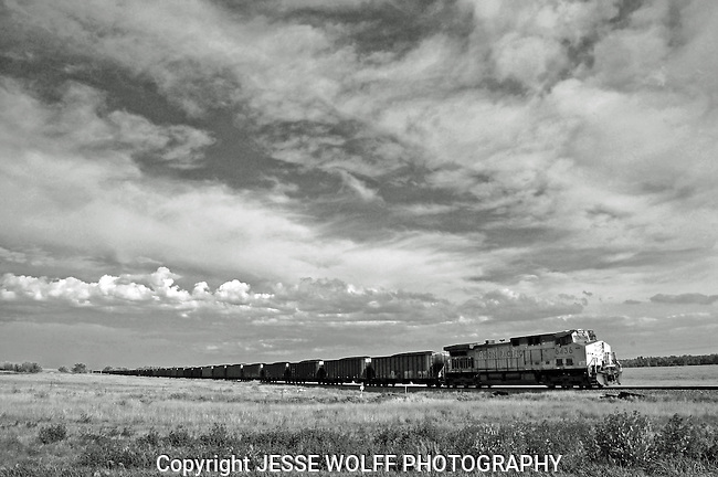 Coal train way out in eastern Colorado rollin' on into Colorado Springs.
