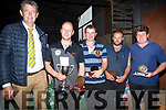 Presenting the local sheep shearing awards at the Top of Coom on Sunday. <br /> Left to right Flory Ryan with local shearers Denis O'Sullivan, PJ Browne, Breda Lynch
