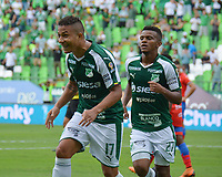 PALMIRA - COLOMBIA, 02-09-2019: Feiver Mercado del Cali celebra después de anotar el primer gol de su equipo durante partido entre Deportivo Cali y Deportivo Pasto por la fecha 9 de la Liga Águila II 2019 jugado en el estadio Deportivo Cali de la ciudad de Palmira. / Feiver Mercado of Cali celebrates after scoring the first goal of his team during match between Deportivo Cali and Deportivo Pasto for the date 9 as part Aguila League II 2019 played at Deportivo Cali stadium in Palmira city. Photo: VizzorImage / Nelson Rios / Cont